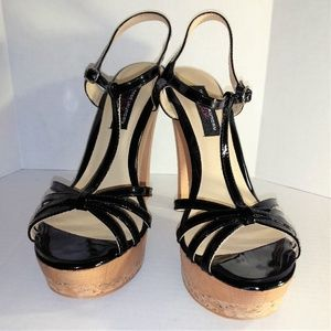 Chinese Laundry Black Leather Sandal Heels SZ 9.5